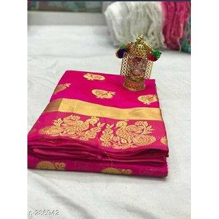 PEMAL DESIGNER Pink Embellished Banarasi Silk Saree With Blouse