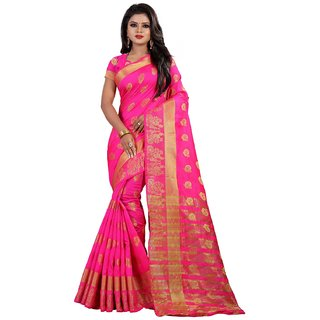 PEMAL DESIGNER Pink Embellished Banarasi Silk Saree With Blouse