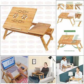 KunjZone Adjustable Laptop Table 100% Bamboo Make Lapdesk Stand with Two Foldable Breakfast Serving Bed Tray with Drawer