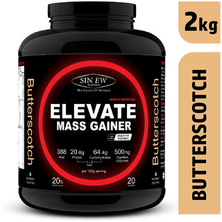 Sinew Nutrition Elevate Mass Gainer Protein Powder with Digestive Enzymes (2 kg, Butterscotch)