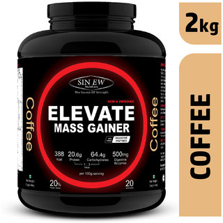 Sinew Nutrition Elevate Mass Gainer Protein Powder with Digestive Enzymes (2 kg, Coffee)