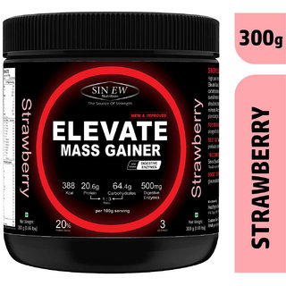Sinew Nutrition Elevate Mass Gainer Protein Powder with Digestive Enzymes (300 g, Strawberry)