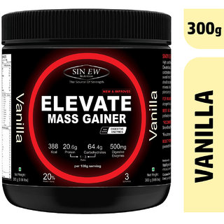 Sinew Nutrition Elevate Mass Gainer Protein Powder with Digestive Enzymes (300 g, Vanilla)
