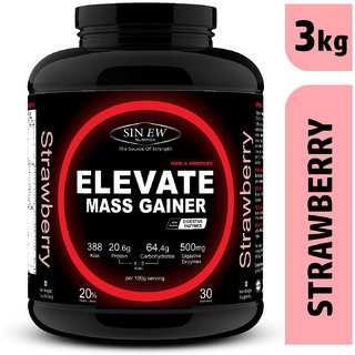 Sinew Nutrition Elevate Mass Gainer Protein Powder with Digestive Enzymes (3 kg, Strawberry)