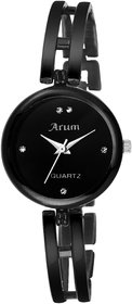 Arum New Collection Black Round Shaped Dial Metal Strap Fashion Wrist Watch for Women's and Girl's ASWW-013