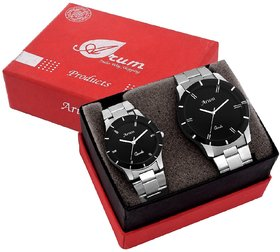 Arum Trendy Black In Silver Watch For Couple's ASSCW-003