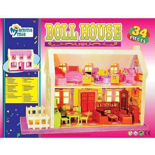 Doll House Play Set, Doll House With Master Bedroom, Dining Room, Living Room, Bath Room, Infant Room, 34 Pieces