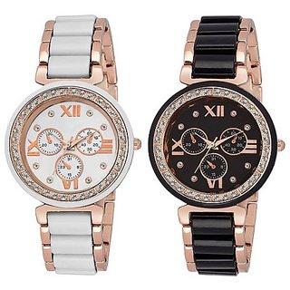Vrani Retail White and Black Diamond Dial Mina Metal Strap Designer Girls Wrist Watch For Women