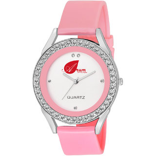 Arum White Round Dial Leather Strap Fashion Wrist Watch for Women's and Girl's ASWW-019