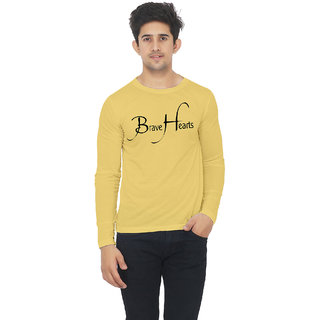 Yellow color full sleeve brave heart printed tshirt