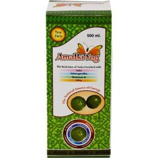 Afflatus Amalki Yog Herbal Amla Juice 500 ML with Tulsi Ashwagandha Shatawar and Giloy