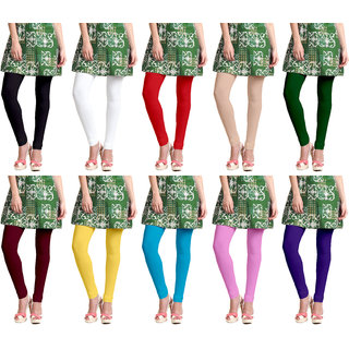 Lili Long Length Leggings (Pack of 10, Free Size)