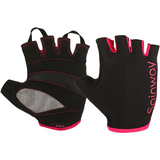 Spinway Fitness Polyster Mesh Towel fabric with SBR Weight Lifting Gym Gloves For Wonen| Padded with design Stretch Wrist Cuff | Workout Fitness Exercise Size - M Color  Black and Pink