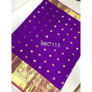 Pemal Designer Women's Banarasi Silk Weaving Saree With Jecqured Border Running Blouse Pics BBC115GG