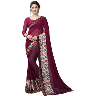 Women's Latest Design Purple Color Georgette Printed Saree