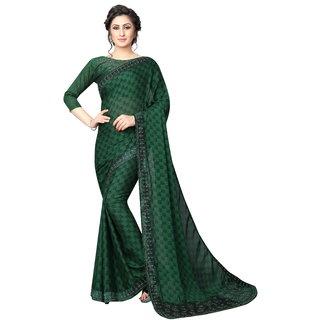 Women's Latest Design Green Color White Rangoli( Silk )Stone Work Saree