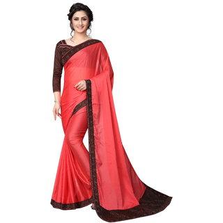 Women's Latest Design Rose Color White Rangoli( Silk )Stone Work Saree
