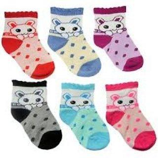 Set of 12 printed design cartoon kids socks 2-3 years (assorted colour)