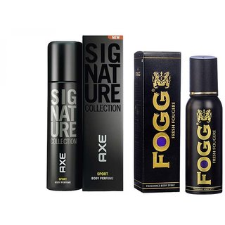 Fogg Black Collection And Axe Signature Deo Deodorants Body Spray For Men -  Combo Pack Of 2 Pcs