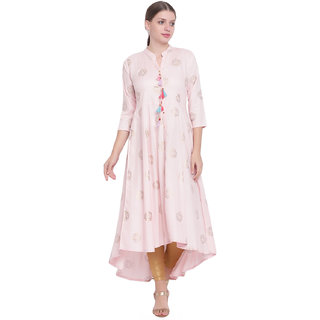 Pinky Pari Light Pink Long Gold Print Flared Rayon Kurta