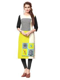 BLANCORA Women's Digital Print 3/4th Sleeve Multicolor Straight Crepe Stitched Kurti