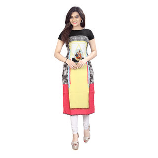 BLANCORA Women's Digital Printed Short Sleeve Multicolor Straight Crepe Kurti
