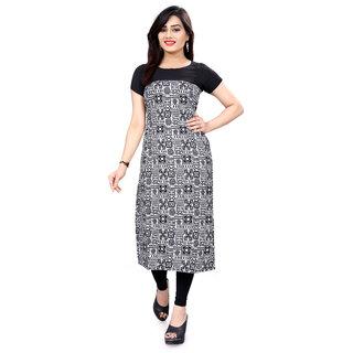 BLANCORA Women Short Sleeve Digital Print Multicolor Straight Stitched Crepe Kurti