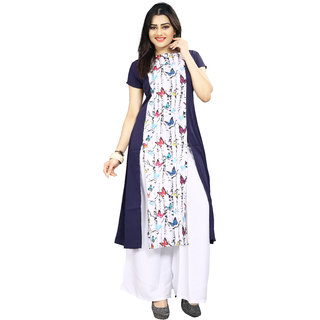 BLANCORA Women's Short Sleeve Front Slit Multicolor Straight Crepe Kurti