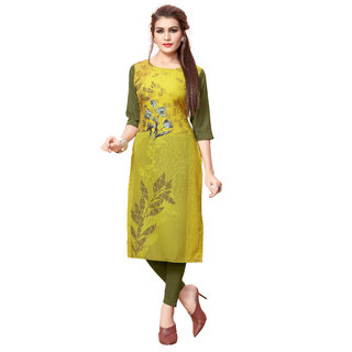 BLANCORA Women's Digital Printed 3/4th Sleeve Multicolor Straight Crepe Kurti