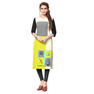 BLANCORA Women's Digital Print 3/4th Sleeve Multicolor Straight Crepe Stitched Kurti