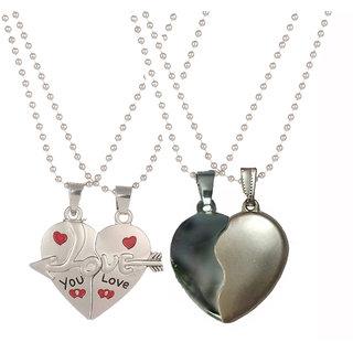 Styles Creation Combo Of 2 Stylish Designer Romantic Love Couple Heart Shape Pendant Chain For Men  Women (Artificial J