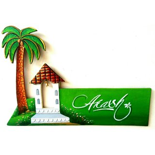 Name plate BSR wooden name plate handcrafted,hand painted and hand written Artistic name writing