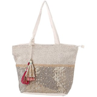 Prasiddhi Jute Jacquard Crme Colour Bottom Sequins Womens Tassel Tote Bag  with Cotton Straps 7262aa994