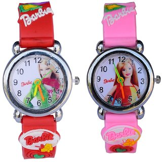 Barbie analog pink and red kids girls watch pack of 2 combo watch