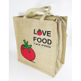 LivEZY Jute Lunch Bag Hand Bag Multi Purpose Tote Bag Eco-Friendly Reusable Gift Return Gift Tomato Printed
