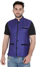 TODAY FASHION Blue Jute Nehru Jacket For Men's