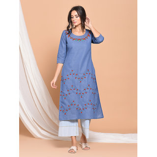 Pinky Pari Denim Blue Embroidered Straight Kurti