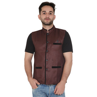 TODAY FASHION Brown Jute Nehru Jacket For Men's