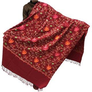 Varun Cloth House Womens Woollen Kashmiri Aari Embroided Shawl (vch5126, Maroon, Free Size)