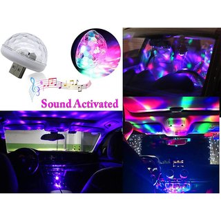 Car Mini Disco DJ Lamp Light Multicolor Sound Activated Music Controlled Sensor Lights USB Powered (Works With All Cars)