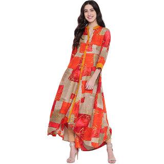 Pinky Pari Multicolor Printed Rayon Long Flared Kurta