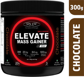 Sinew Nutrition Elevate Mass Gainer Protein Powder with Digestive Enzymes (300 g, Chocolate)