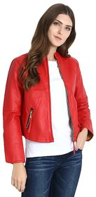 Raabta World Italian Red Faux Leather Jackets for Women's