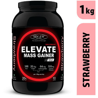 Sinew Nutrition Elevate Mass Gainer Protein Powder with Digestive Enzymes (1 kg, Strawberry)