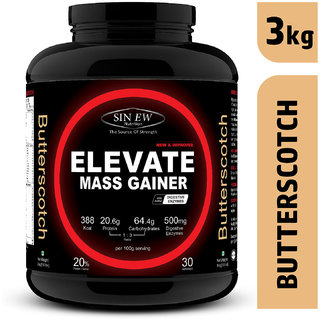 Sinew Nutrition Elevate Mass Gainer Protein Powder with Digestive Enzymes (3 kg, Butterscotch)