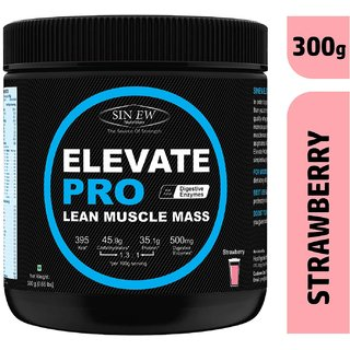 Sinew Nutrition Elevate Pro Lean Muscle Mass Gainer Protein Powder with Digestive Enzymes - (300 g, Strawberry)