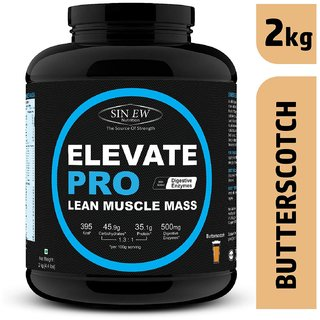 Sinew Nutrition Elevate Pro Lean Muscle Mass Gainer Protein Powder with Digestive Enzymes  (2 kg, Butterscotch)