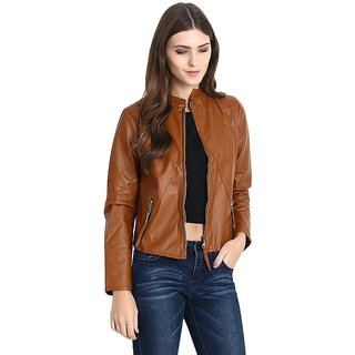 Raabta World Italian Broown Faux Leather Jackets for Women