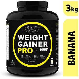 Sinew Nutrition Weight Gainer Pro with Digestive Enzymes (3 kg, Banana)