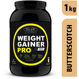 Sinew Nutrition Weight Gainer Pro with Digestive Enzymes (1 kg, Butterscotch)